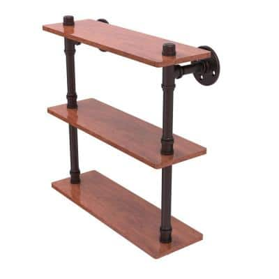 Pipeline Collection 16 in. Ironwood Triple Shelf in Antique Bronze