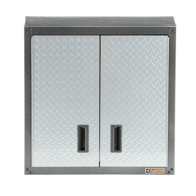 Steel 1-Shelf Wall Mounted Garage Cabinet in Silver Tread (28 in W x 28 in H x 12 in D)