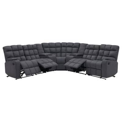 7-Piece Gray Microfiber 4-Seater Curved Power Reclining Sectional Sofa with Storage Consoles