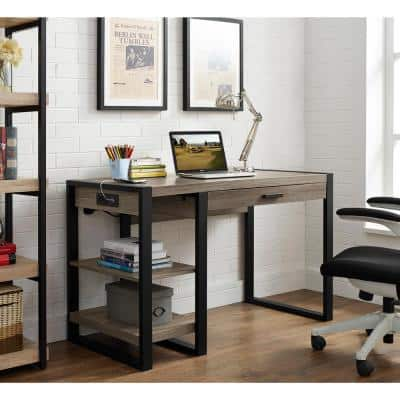 48 in. Ash Grey Rectangular 1 -Drawer Computer Desk with Keyboard Tray