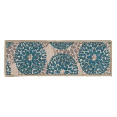 """Moden Floral Circles Non-Slip Stair Treads 8.6"""" x 26"""" Blue (Set of 4)"""