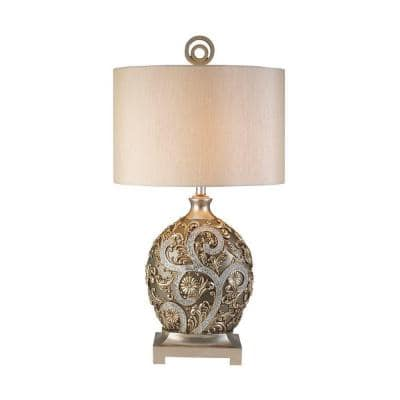 12.25 in. Antique Brass Silver Vine Table Lamp