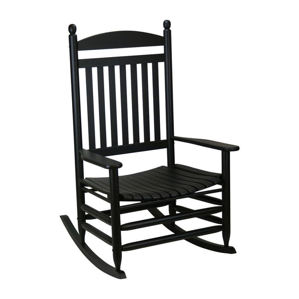 Bradley Black Jumbo Slat Wood Outdoor, Wood Rocking Chair Outdoor Black