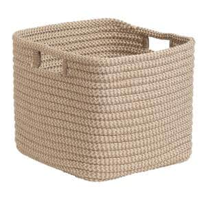 Natural 12 in. x 12 in. x 10 in. Carter Square Polypropylene Braided Basket