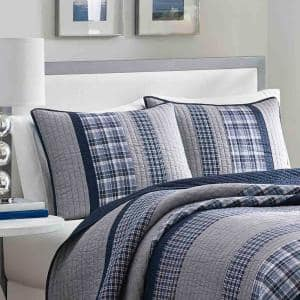 Adelson 1-Piece Navy Blue Plaid and Striped Cotton Standard Sham