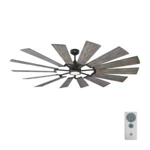 Prairie 72 in. LED Indoor/Outdoor Aged Pewter Ceiling Fan with Light Grey Weathered Oak Blades, Light Kit and Remote