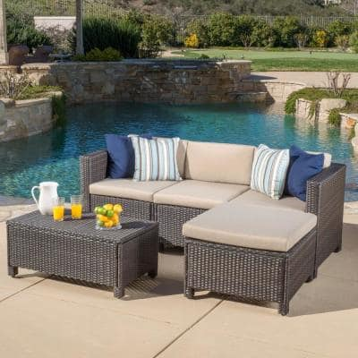 Puerta Dark Brown 5-Piece Wicker Outdoor Sectional with Beige Cushions