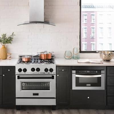 ZLINE 30 in. 4.0 cu. ft. Gas Range with Convection Gas Oven in DuraSnow Stainless Steel with Matte Black Accents