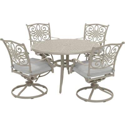 Traditions 5-Piece Aluminum Outdoor Dining Set with 4 Swivel Rockers and Cast Table with Beige Cushions