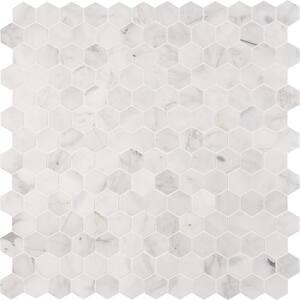 Calacatta Cressa Hexagon 12 in. x 12 in. x 10 mm Honed Marble Mosaic Tile (9.8 sq. ft. / case)