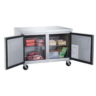 60 in. W 15.5 cu. ft. 2-Door Commercial Upright Undercounter Freezer
