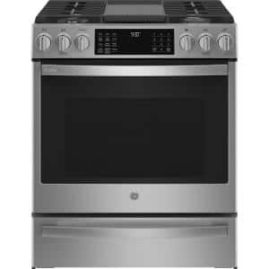 Profile 30 in. 5.6 cu. ft. Slide-In Gas Range with Self-Cleaning Convection Oven and Air Fry in Stainless Steel