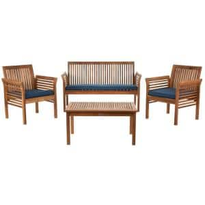 Carson Natural 4-Piece Wood Patio Conversation Set with Navy Cushions