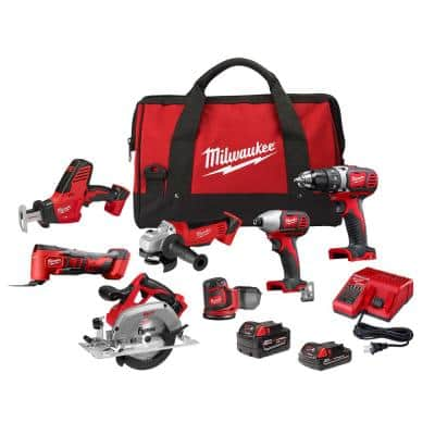 M18 18-Volt Lithium-Ion Cordless Combo Kit (7-Tool) with One 3.0Ah and One 1.5Ah Battery, Charger and Tool Bag