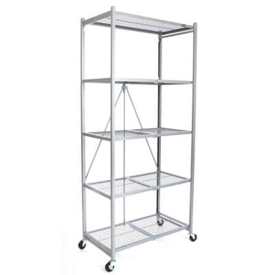 Platinum Rolling 5-Tier Metal Wire Shelving Unit (36 in. W x 78 in. H x 21 in. D)