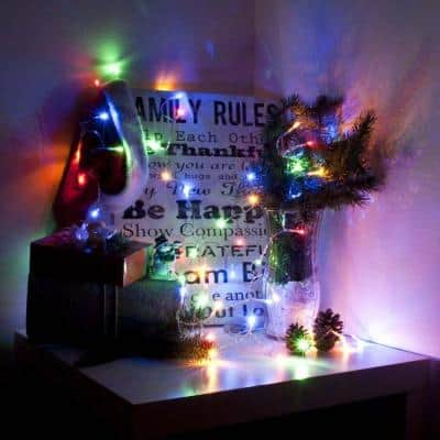 34 ft. 100-Light LED Multi-Color Flush Light Electric Powered Extendable Christmas Holiday Light (Lot of 2)