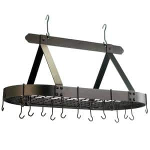 15.5 in. x 19 in. x 36 in. Oval Oiled Bronze Pot Rack with Grid and 16 Hooks