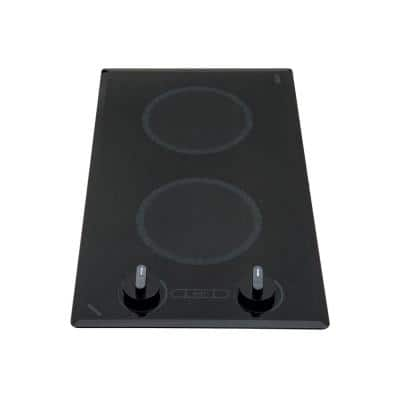 Mediterranean 12 in. Radiant Electric Cooktop in Speckled Black with 2-Elements Knob Control 120-Volt
