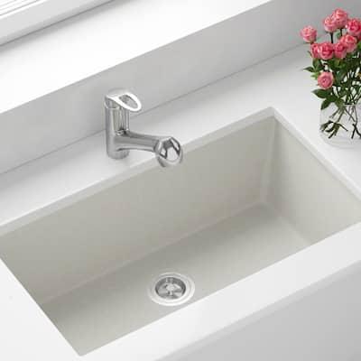 White Quartz Granite 33 in. Single Bowl Undermount Kitchen Sink