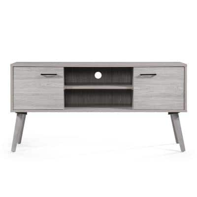 48 in. Grey Oak Particle Board TV Stand Fits TVs Up to 50 in. with Storage Doors