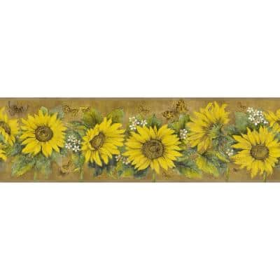 Falkirk Dandy Yellow, Mustard Sunflowers, Butterflies Floral Peel and Stick Wallpaper Border