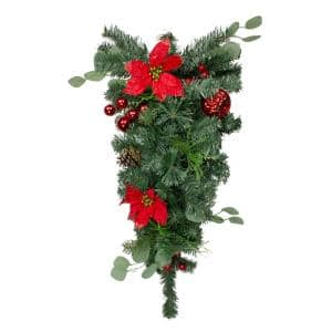 30 in. Green Poinsettia and Pinecone Unlit Artificial Christmas Teardrop Swag