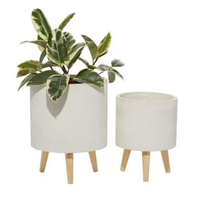 13 in. and 16 in. White Round Fiberclay Planters (Set of 2)
