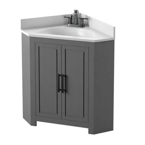 Twin Star Home 25 In W X 25 In D Corner Bathroom Vanity In Antique Gray With White Top And White Basin 25bv35043 Pg22 The Home Depot