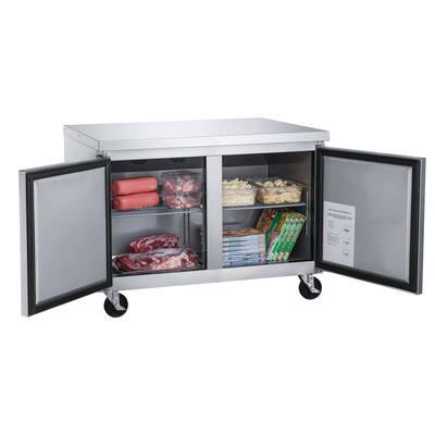 48.125 in. W 12.2 cu. ft. 2-Door Commercial Upright Undercounter Freezer