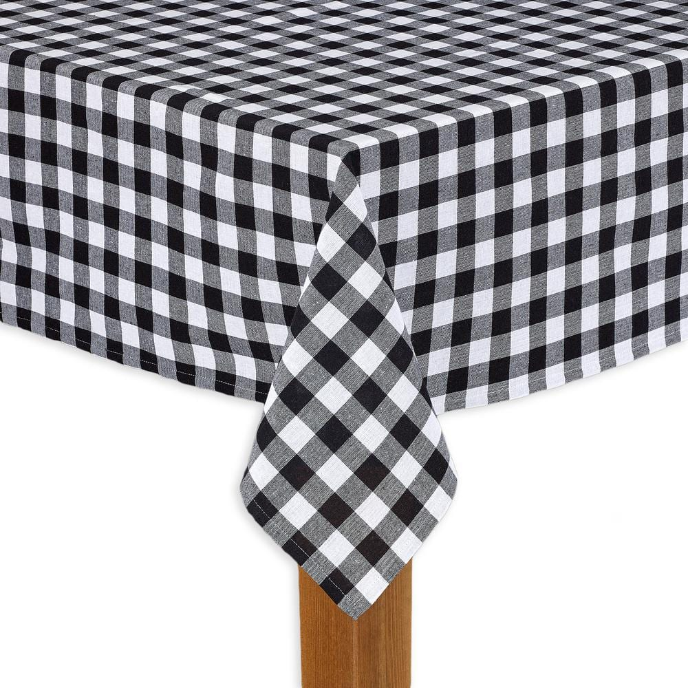 Lintex Buffalo Check 60 In X 104 In Black 100 Cotton Table Cloth For Any Table 303166 The Home Depot