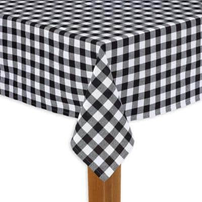Buffalo Check 60 in. x 104 in. Black 100% Cotton Table Cloth for Any Table