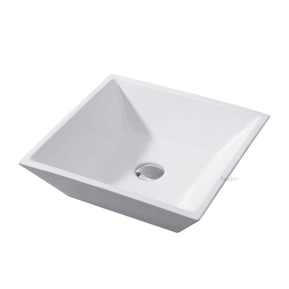 Luxier Flat Square Bathroom Ceramic Vessel Sink Art Basin In White Cs 006 The Home Depot