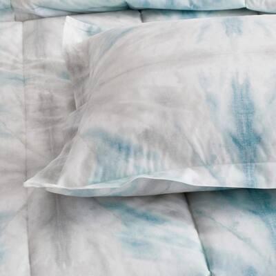 Cstudio Home Tie-Dye 2-Piece Blue Multicolored Organic Cotton Percale Twin/Twin XL Comforter Set