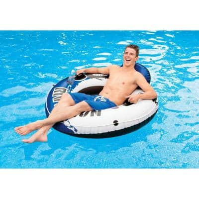 River Run 1 Blue Round Vinyl Inflatable Floating Tube Raft for Lake, River and Pool (6-Pack)