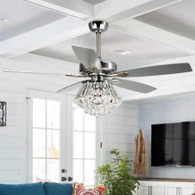 Zuniga 52 in. Indoor Chrome Downrod Mount Crystal Chandelier Ceiling Fan With Light and Remote Control