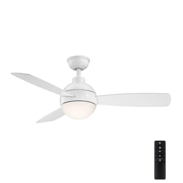 Home Decorators Collection Alisio 44 in LED White Ceiling Fan w//Light /& Remote
