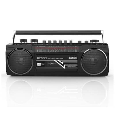 Retro Radio and Cassette Boombox with Bluetooth in Black