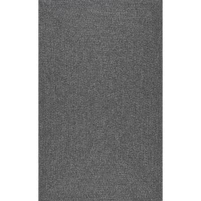 Lefebvre Casual Braided Charcoal 12 ft. x 15 ft. Indoor/Outdoor Area Rug