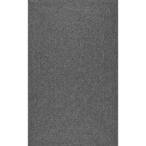 Lefebvre Casual Braided Charcoal 8 ft. x 10 ft. Indoor/Outdoor Area Rug