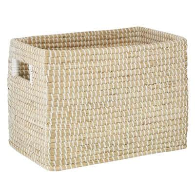 Rectangular Natural Woven Seagrass Basket With Insert Handles, 15in X 10in