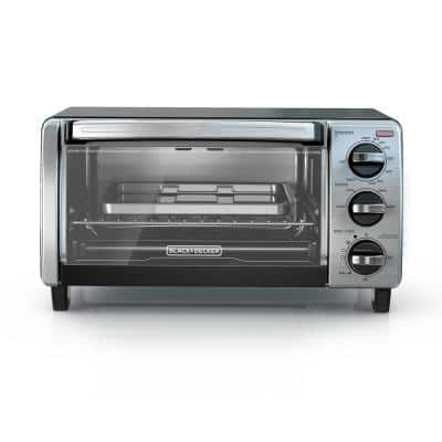 1150 W 4-Slice Stainless Steel Convection Toaster Oven with Built-In Timer
