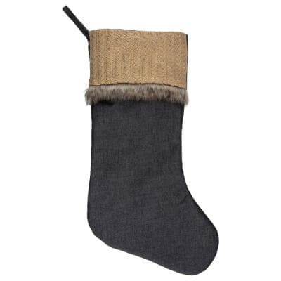 20 in. Rustic Polyester Burlap and Chambray Christmas Stocking