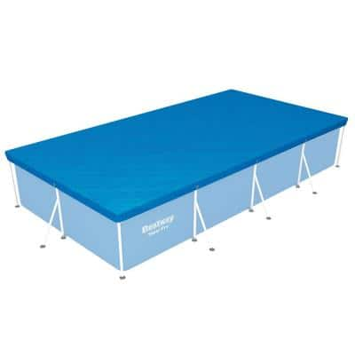 Flowclear Pro Rectangular Above Ground Swimming Pool Leaf Cover, Blue