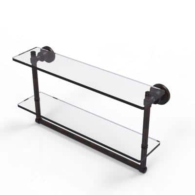 Washington Square Collection 22 in. 2-Tiered Glass Shelf with Integrated Towel Bar in Venetian Bronze