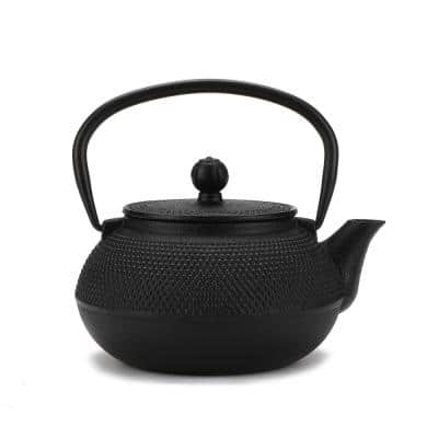 3.75-Cup Black Japanese Style Cast Iron Tetsubin Tea Pot with Infuser