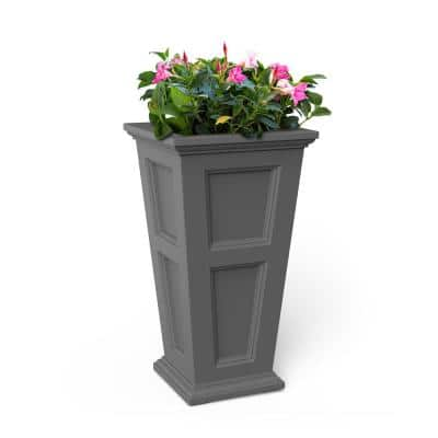 28 in. Graphite Grey Resin Self-Watering Fairfield Square Column Planter