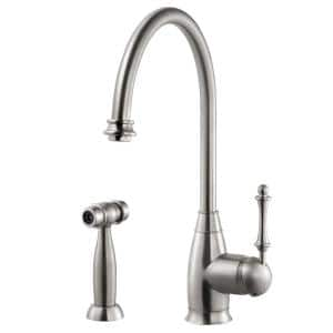 Charlotte Traditional Single-Handle Standard Kitchen Faucet with Sidespray and CeraDox Technology in Brushed Nickel
