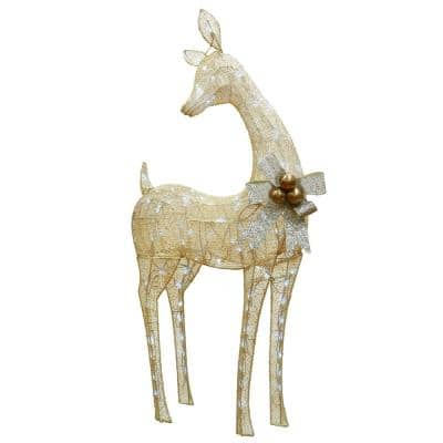45 in. Ice Crystal Bead Feeding Deer with 105 Cool White Twinkling LED