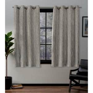 Forest Hill Natural 52 in. W x 63 in. L Grommet Top Room Darkening Black Out Curtain Panel (Set of 2)