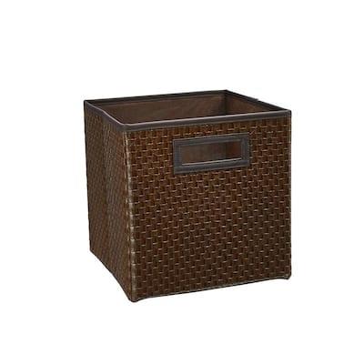 11 in. H x 10.5 in. W x 10.5 in. D Brown Fabric Cube Storage Bin